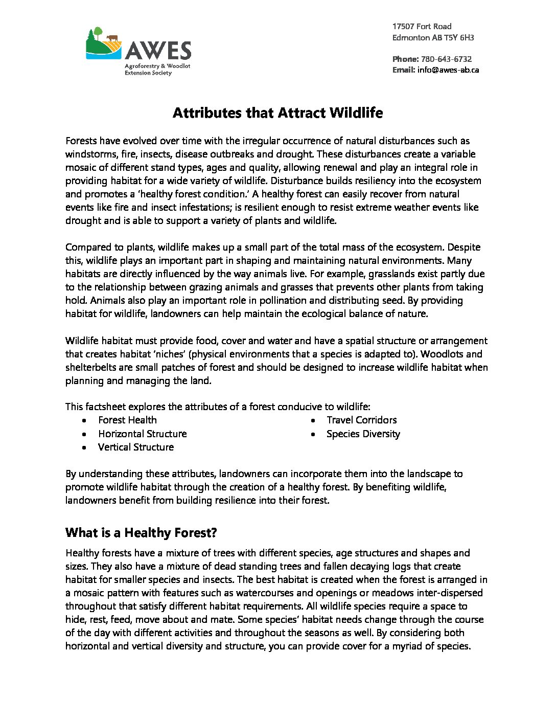 Attributes that Attract Wildlife