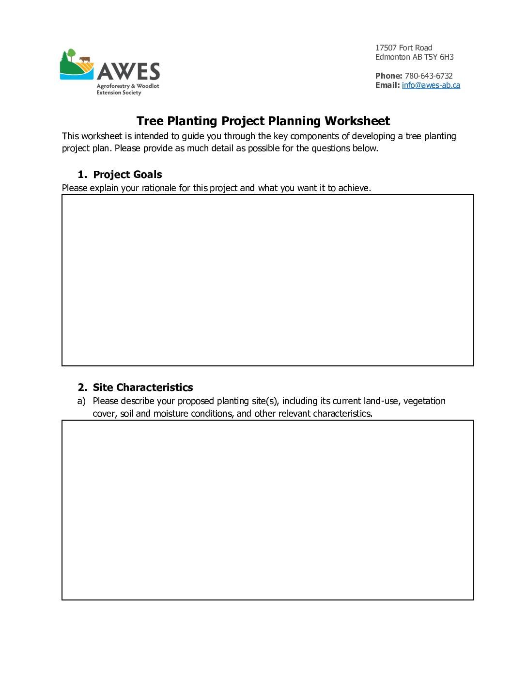 AWES Planting Project Planning Worksheet