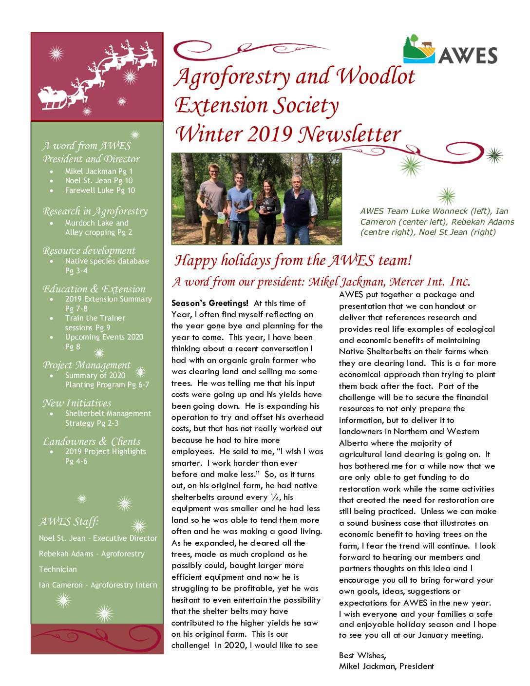 AWES Winter 2019 Newsletter